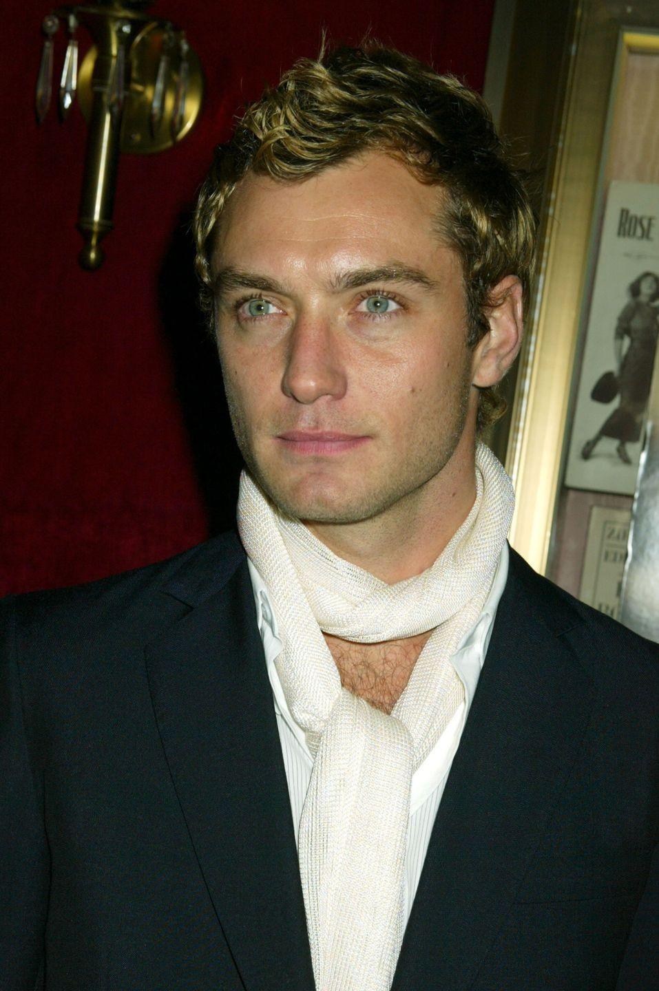 <p>Jude Law was a repeat offender when it came to exposing his chest hair back in the 2000s. Yes, we see it peeping out from your conveniently wrapped scarf, Jude. </p>