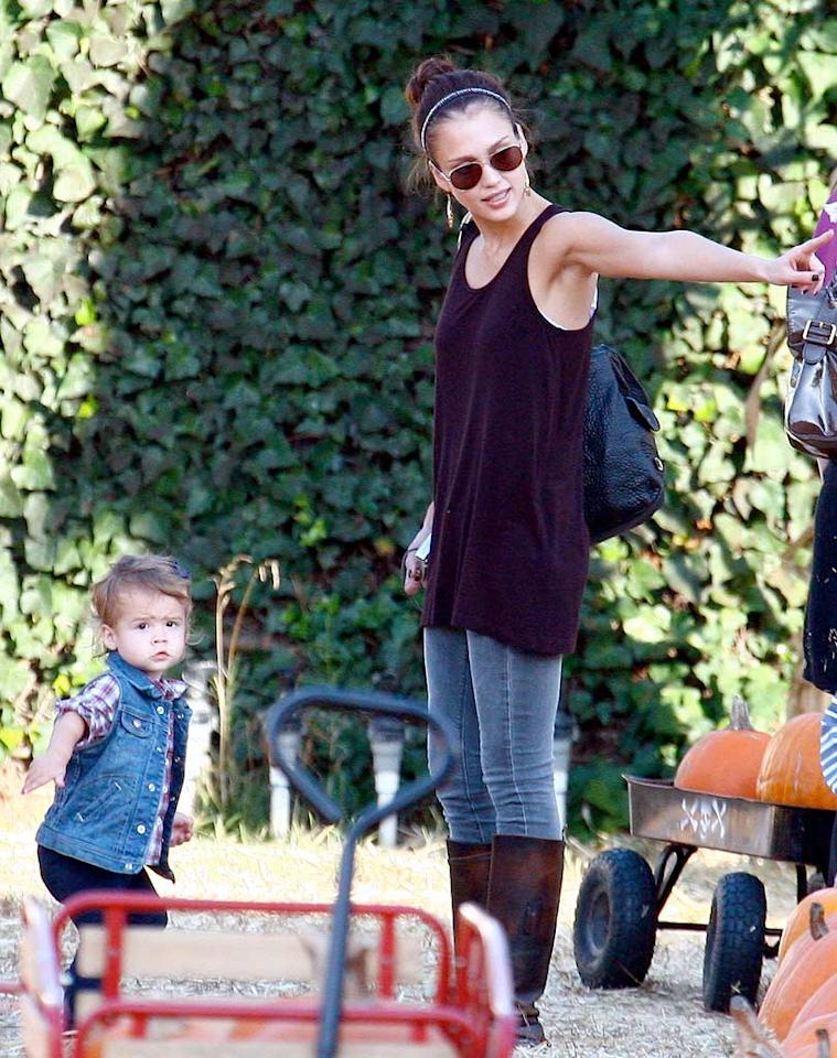 """Jessica Alba introduces 1-year-old Honor to the celebrity tradition of picking pumpkins at the Mr. Bones Pumpkin Patch in West Hollywood. IONU/<a href=""""http://www.x17online.com"""" target=""""new"""">X17 Online</a> - October 22, 2009"""