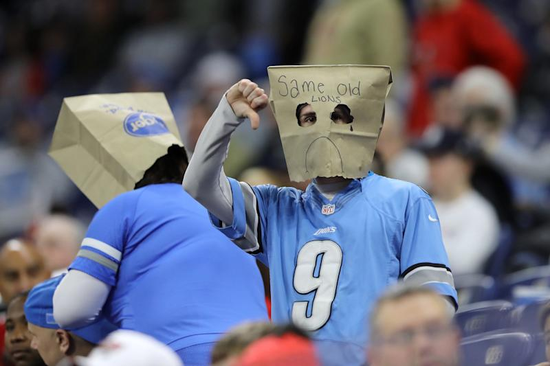 Detroit Lions fans might have to wear their bags (and masks) at home if the NFL season begins on time. (Photo by Rey Del Rio/Getty Images)