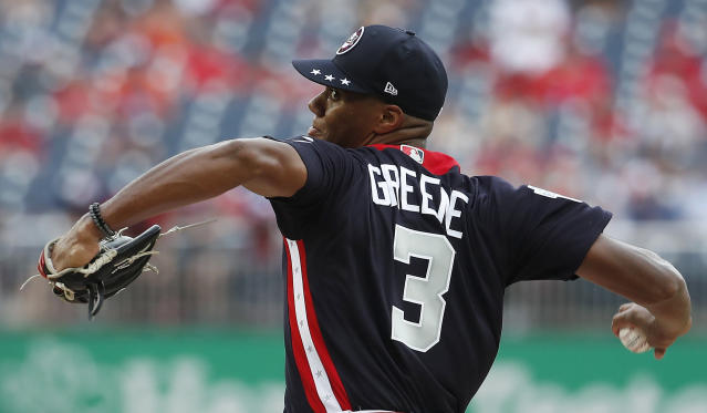 U.S. Team Jo Adell of the Los Angles Angels, works against the World Team in the 4th inning of the All-Star Futures baseball game, Sunday, July 15, 2018, at Nationals Park, in Washington. The the 89th MLB baseball All-Star Game will be played Tuesday. (AP Photo/Alex Brandon)