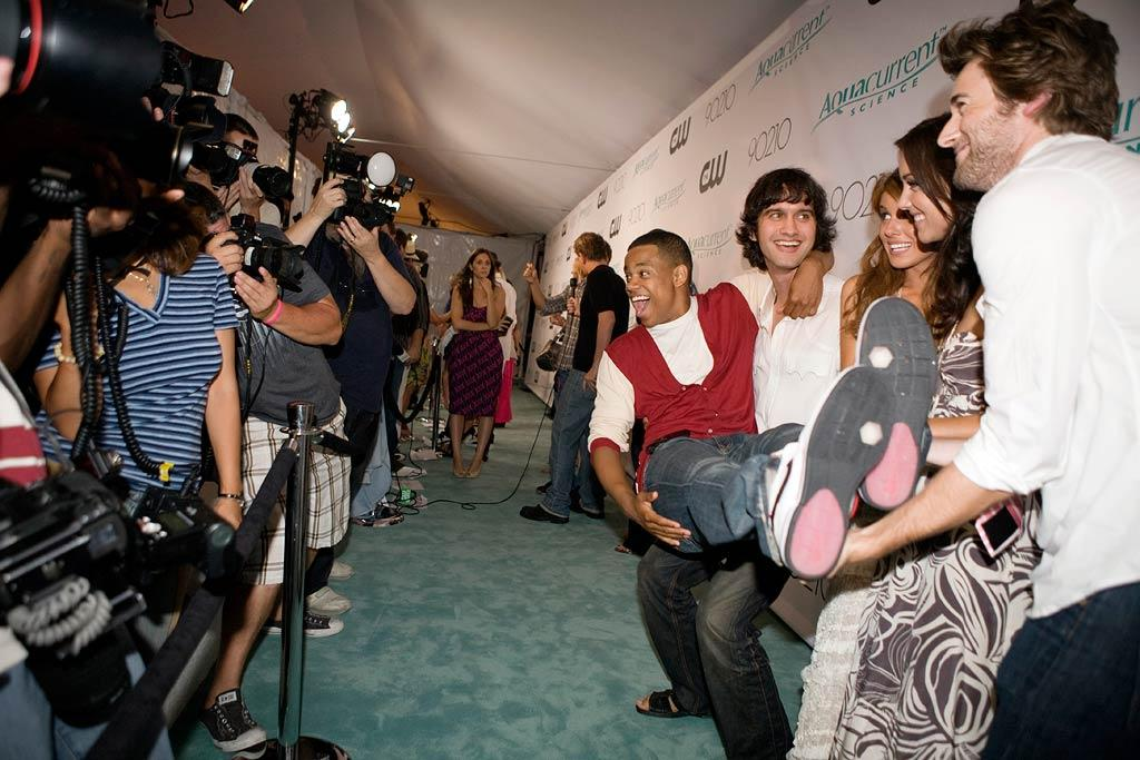 """Tristan Wilds, Michael Steger, Shenae Grimes, Jessica Stroup and Ryan Eggold are all smiles as they arrive at the <a href=""""/90210/show/43006"""">""""90210""""</a> Launch Party on Saturday, 8/23 in Malibu, California."""