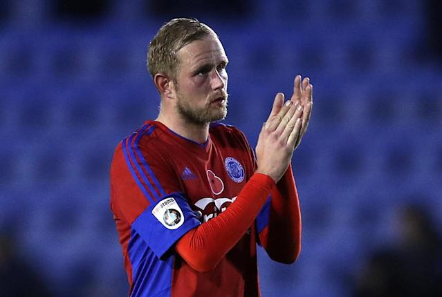 Soccer Football - FA Cup First Round - Shrewsbury Town vs Aldershot Town - New Meadow, Shrewsbury, Britain - November 4, 2017 Aldershot Town's Scott Rendell applauds fans at the end of the game Action Images/John Clifton