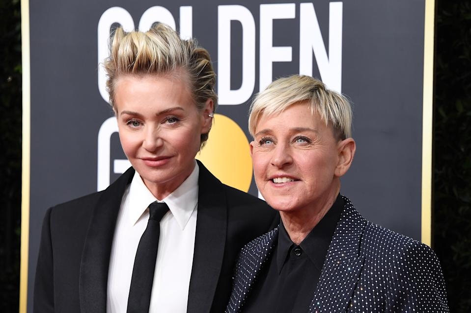 Portia de Rossi and Ellen DeGeneres attend the 77th Annual Golden Globe Awards at The Beverly Hilton Hotel on January 05, 2020 in Beverly Hills, California. (Photo by Steve Granitz/WireImage)