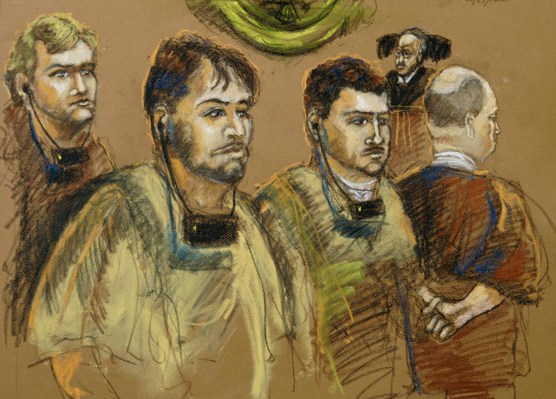 FILE - In this Dec. 17, 2007 file artist's rendering four South American men appear before U.S. Magistrate William C. Turnoff, right rear, on accusations they acted as illegal Venezuelan agents in an attempt to cover up the true source of a suitcase full of cash intended for the campaign of Argentina's new president Cristina Fernandez in Miami. From left to right are: Moises Maionica of Venezuela, Franklin Duran of Venezuela, Carlos Kauffman of Venezuela and Rodolfo Wanseele of Uruguay. (AP Photo/Shirley Henderson, File)