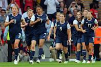 LONDON, ENGLAND - AUGUST 09: Christie Rampone #3, Shannon Boxx #7, Kelley O'Hara #5, Abby Wambach #14, Tobin Heath #17 celebrate the goal by Carli Lloyd #10 of United States in the first half against Japan during the Women's Football gold medal match on Day 13 of the London 2012 Olympic Games at Wembley Stadium on August 9, 2012 in London, England. (Photo by Julian Finney/Getty Images)