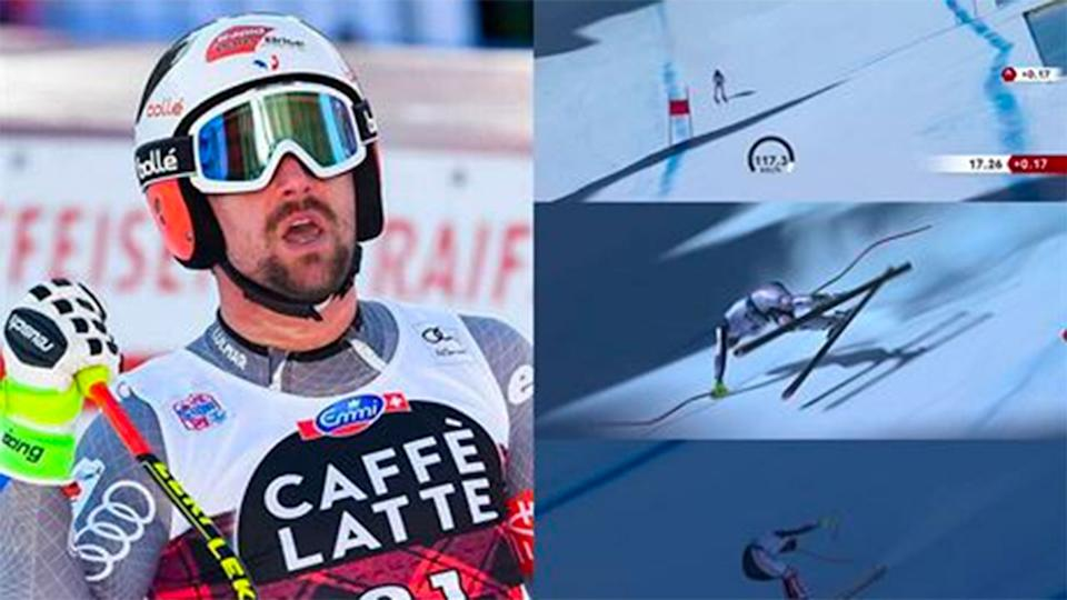 Seen here, Max Muzaton somehow averted disaster in his alpine skiing event.
