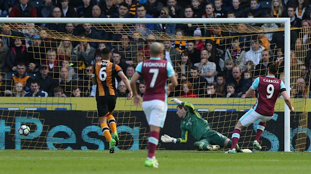 <p>West Ham United's Andy Carroll scores their first goal </p>
