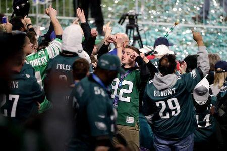 Feb 4, 2018; Minneapolis, MN, USA; Philadelphia Eagles fans celebrate after a victory over the New England Patriots in Super Bowl LII at U.S. Bank Stadium. Mandatory Credit: Kevin Jairaj-USA TODAY Sports