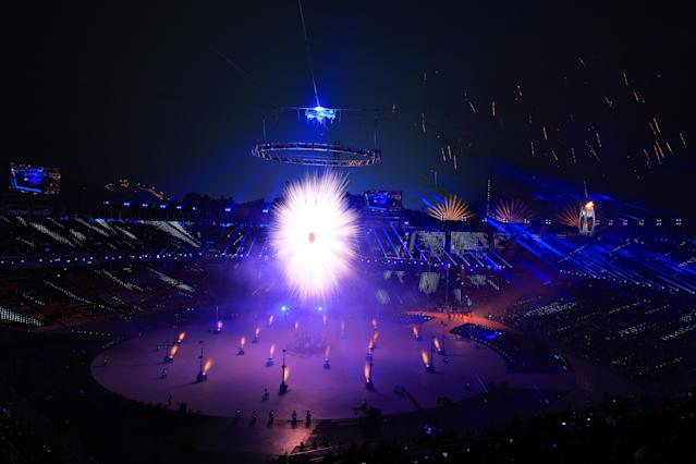<p>A general view of the Opening Ceremony of the PyeongChang 2018 Winter Olympic Games at PyeongChang Olympic Stadium on February 9, 2018 in Pyeongchang-gun, South Korea. (Photo by Sean M. Haffey/Getty Images) </p>
