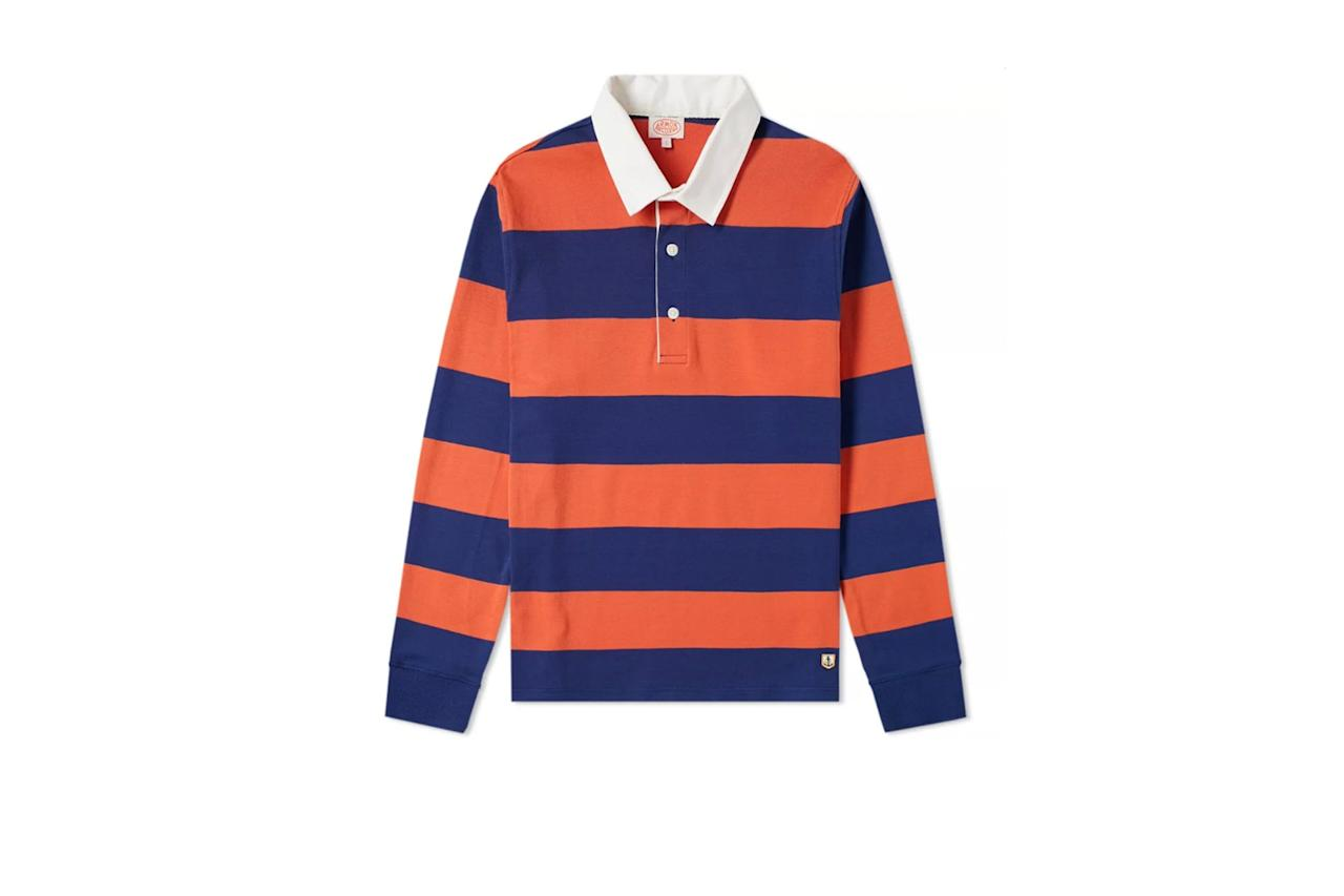 """$105, End Clothing. <a rel=""""nofollow"""" href=""""https://www.endclothing.com/us/armor-lux-76886-long-sleeve-stripe-rugby-shirt-76886-u5n.html"""">Get it now!</a>"""