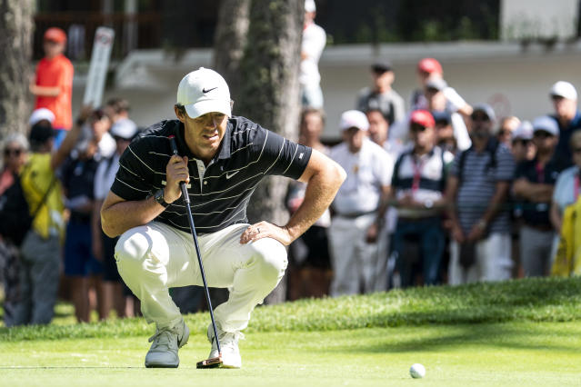 Rory McIlroy of Northern Ireland lines up a putt during the second round of the European Masters golf tournament in Crans-Montana, Switzerland, Friday, Aug. 30, 2019. (Alexandra Wey/Keystone via AP)