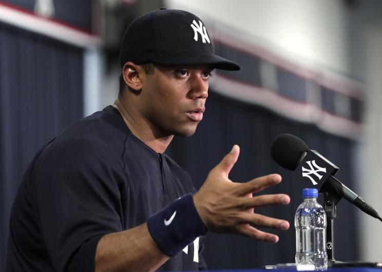 Watch Russell Wilson Crush Batting Practice Homer At Yankees Spring Training