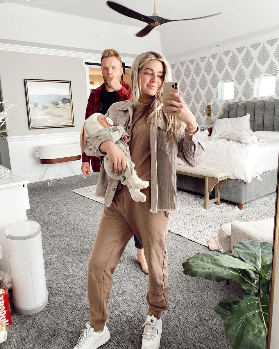 "<p>Arnold and Cusick had plenty to be thankful for on Thanksgiving 2020. The new mom <a href=""https://www.instagram.com/p/CH6EjkInfQf/"" rel=""nofollow noopener"" target=""_blank"" data-ylk=""slk:shared on Instagram"" class=""link rapid-noclick-resp"">shared on Instagram</a> that they are ""Grateful for our new normal ❤️❤️ diapers everywhere, messy room, newborn cuddles, and no sleep.""</p> <p>She joked, ""I left the house today with dried spit up in my hair cause I figured I'll get more in there throughout the day so why shower now😂 Sam and I are getting a good routine going of taking turns holding Sage while we brush our teeth (and yes that is what sam is doing in this pic lol), pee, change our clothes, the basics 😂 and through all these changes, I have truly never been happier.""</p> <p>Arnold added that their lives ""have a whole new meaning"" thanks to their daughter. She wrote, ""Every lesson we have learned/mistake we have made is to help us be better for you, Sagey. Our marriage and love for each other is now what we can give to you. Even taking care of ourselves has a whole new meaning because it's to be better parents to you. I am so grateful for this new outlook on life and a whole new purpose for everything I do. We love you so much, Sage. ❤️❤️❤️""</p>"