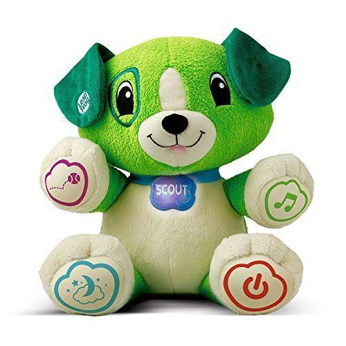 "<p><strong>LeapFrog</strong></p><p>amazon.com</p><p><strong>$27.32</strong></p><p><a href=""https://www.amazon.com/dp/B001W30D2O?tag=syn-yahoo-20&ascsubtag=%5Bartid%7C10055.g.4624%5Bsrc%7Cyahoo-us"" rel=""nofollow noopener"" target=""_blank"" data-ylk=""slk:Shop Now"" class=""link rapid-noclick-resp"">Shop Now</a></p><p>Available in purple or green, this snuggly pal can actually learn your child's name through an accompanying app. Once they become buddies, the pup can sing lullabies, count, and teach colors. <em>Ages 6 months+</em></p><p><strong>RELATED: </strong><a href=""https://www.goodhousekeeping.com/childrens-products/toy-reviews/g5150/best-toys-for-two-year-olds/"" rel=""nofollow noopener"" target=""_blank"" data-ylk=""slk:The 20 Best Toys for 2-Year-Old Toddlers"" class=""link rapid-noclick-resp"">The 20 Best Toys for 2-Year-Old Toddlers</a><br></p>"
