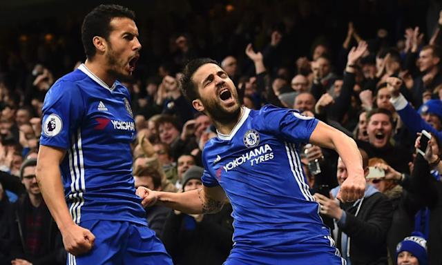 "<span class=""element-image__caption"">Pedro (left) and Cesc Fàbregas.</span> <span class=""element-image__credit"">Photograph: Glyn Kirk/AFP/Getty Images</span>"