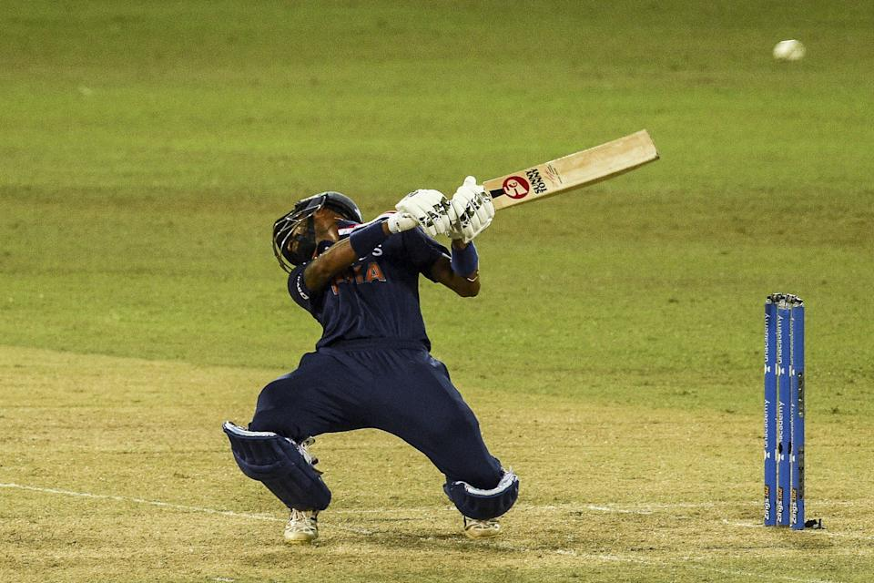 India's Krunal Pandya avoids a bouncer off Sri Lanka's Chamika Karunaratne during the second one-day international (ODI) cricket match between Sri Lanka and India at the R.Premadasa Stadium in Colombo on July 20, 2021. (Photo by ISHARA S. KODIKARA / AFP) / The erroneous mention[s] appearing in the metadata of this photo by ISHARA S. KODIKARA has been modified in AFP systems in the following manner: [India's Krunal Pandya] instead of [India's Manish Pandey]. Please immediately remove the erroneous mention[s] from all your online services and delete it (them) from your servers. If you have been authorized by AFP to distribute it (them) to third parties, please ensure that the same actions are carried out by them. Failure to promptly comply with these instructions will entail liability on your part for any continued or post notification usage. Therefore we thank you very much for all your attention and prompt action. We are sorry for the inconvenience this notification may cause and remain at your disposal for any further information you may require. (Photo by ISHARA S. KODIKARA/AFP via Getty Images)