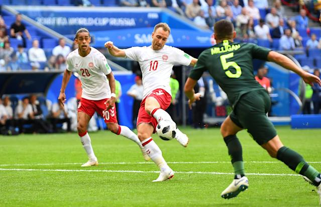 Soccer Football - World Cup - Group C - Denmark vs Australia - Samara Arena, Samara, Russia - June 21, 2018 Denmark's Christian Eriksen scores their first goal REUTERS/Dylan Martinez