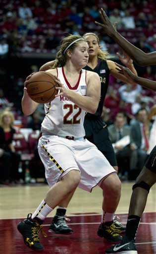 Maryland's Tierney Pfirman (22) moves the ball against Florida State during the first half of an NCAA college basketball game at the Comcast Center in College Park, Md., Sunday, Jan. 6, 2013. (AP Photo/Jose Luis Magana)