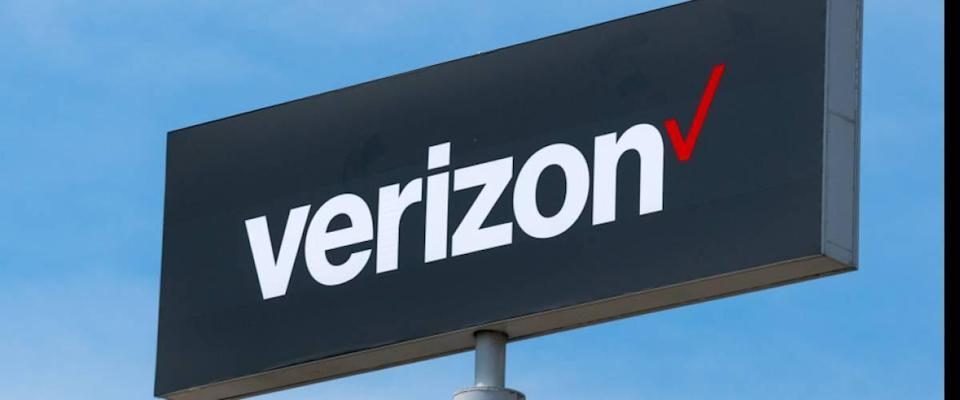 Verizon Wireless sign and rademark logo. Verizon Wireless is a wholly owned subsidiary of Verizon Communications, Inc.
