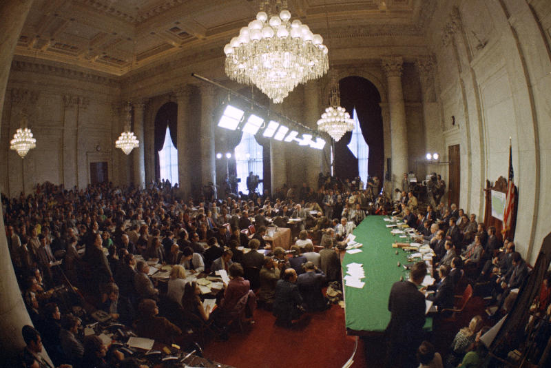 The hearing of the Senate select committee on the impeachment of President Richard Nixon, on Capitol Hill in Washington on May 18, 1973. (Photo: AP)