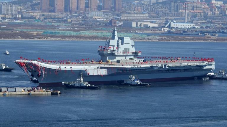 China's second aircraft carrier, Type 001A, is launched during a ceremony at the Dalian shipyards on April 26, 2017