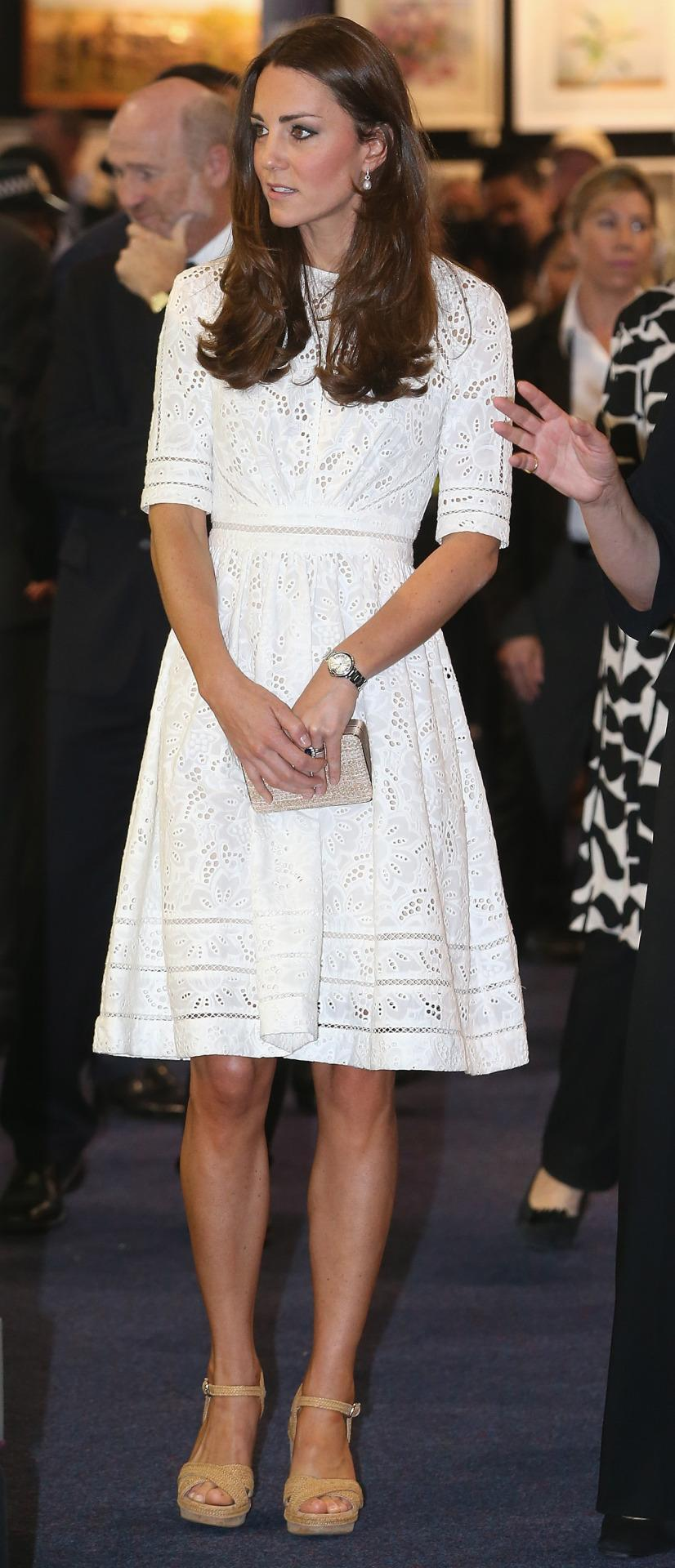 <p>Kate wore a feminine broderie anglaise dress by Australian label, Zimmerman, for an easter show in the country. She paired the look with espadrille wedges by Stuart Weitzman and a neutral L.K. Bennett clutch. </p><p><i>[Photo: PA]</i></p>
