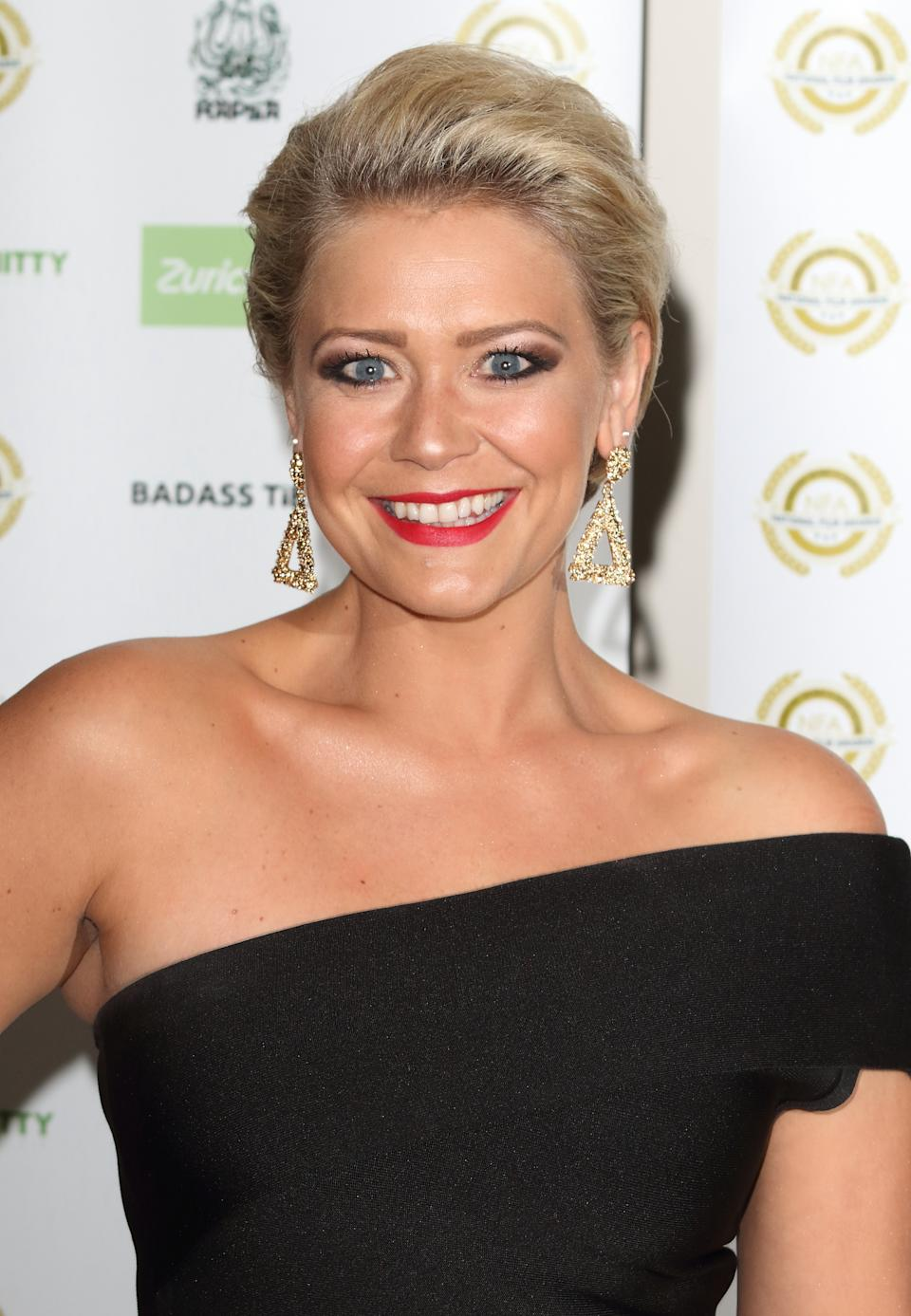 Suzanne Shaw arrives at the National Film Awards 2018 at the Porchester Hall. (Photo by Keith Mayhew/SOPA Images/LightRocket via Getty Images)