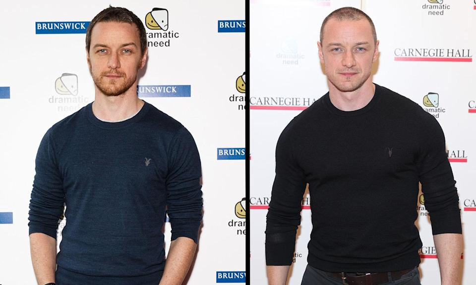 James McAvoy pictured in October 2015 (left) and in November 2017, while he was filming <i>Glass</i> (Getty)