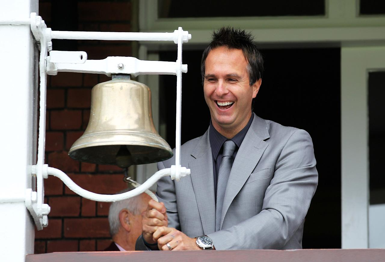 LONDON, ENGLAND - AUGUST 27: Former England captain Michael Vaughan rings the Lord's bell ahead of day two of the 4th npower Test Match between England and Pakistan at Lord's on August 27, 2010 in London, England.  (Photo by Clive Rose/Getty Images)
