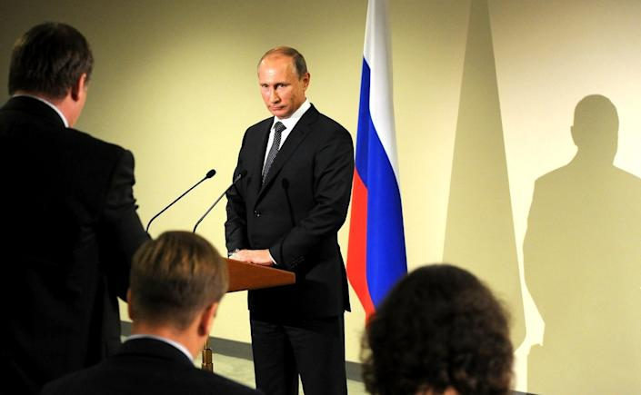 Russian President Vladimir Putin answers journalists' questions during a press conference in New York, United States on September 29, 2015. (Kremlin Press Service/Anadolu Agency/Getty Images)