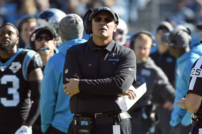 Former Carolina Panthers head coach Ron Rivera was hired to be the next coach of the Redskins. (AP Photo/Mike McCarn)