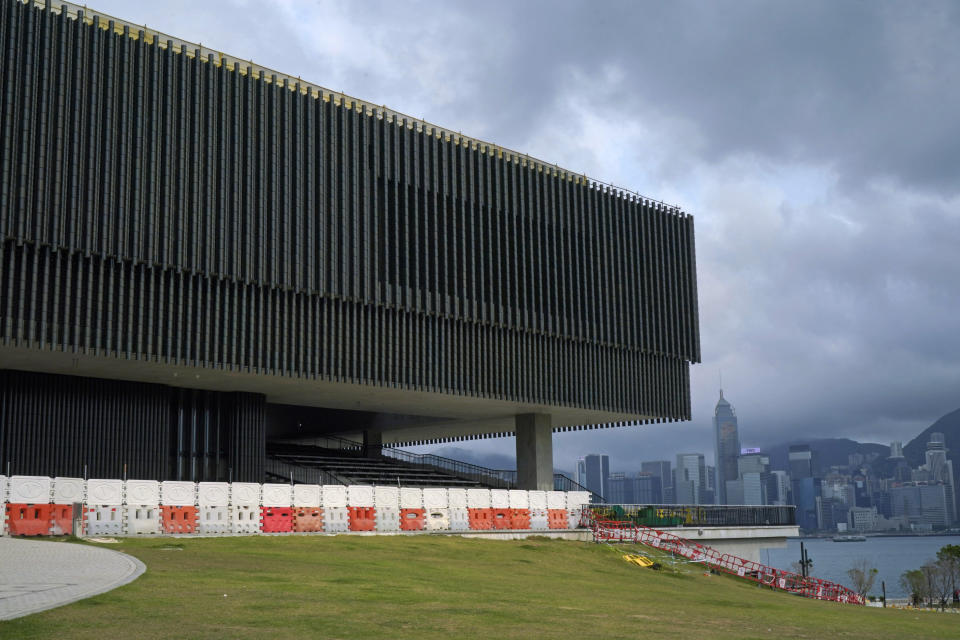 """The """"M+"""" visual culture museum in sight of the harbor at the West Kowloon Cultural District of Hong Kong, Monday, March 29, 2021. The decision not to show a politically sensitive piece of art at an upcoming museum in Hong Kong as well as the Academy Awards this year not airing in the city for the first time in decades has prompted fears that Beijing's crackdown on dissent in Hong Kong has extended into the city's art and entertainment industry. (AP Photo/Kin Cheung)"""