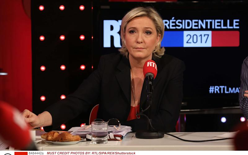 French far-right Front National (FN) party candidate for the presidential election Marine Le Pen  - Credit: RTL/SIPA/REX/Shutterstock