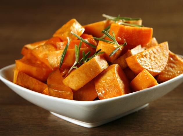 <b>Sweet potatoes:</b> Substitute your regular white potato with a sweet potato and you will automatically be adding vitamin A, vitamin B, vitamin C, calcium and potassium to your meal. Sweet potatoes also contain beta carotene which helps every cell in your body to stay healthy.