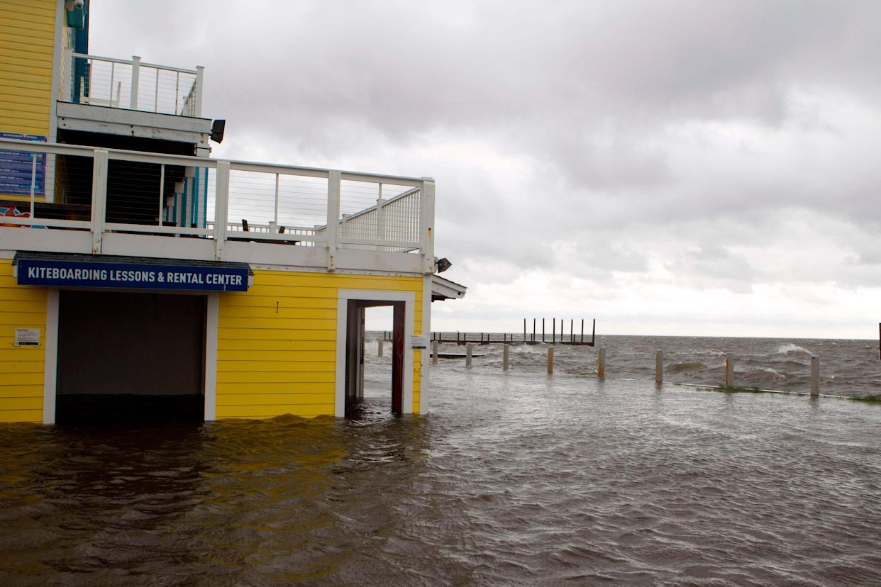 A flooded shop is seen next to Rodanthe Sound as Hurricane Dorian hits Cape Hatteras in North Carolina on September 6, 2019. - The final death toll from Hurricane Dorian in the Bahamas could be