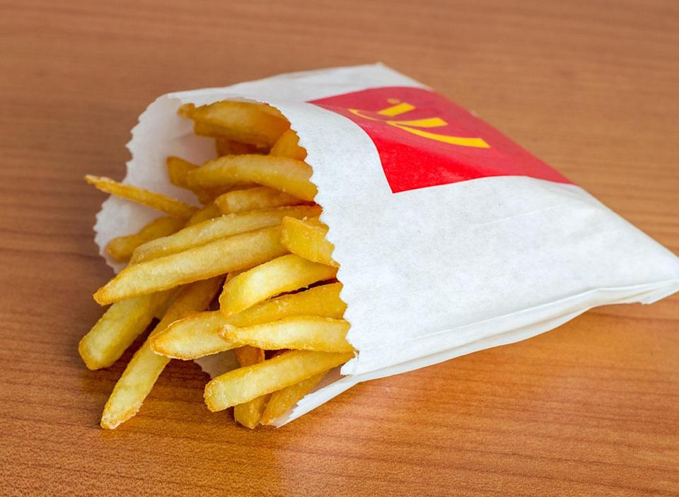 Side view of french fries