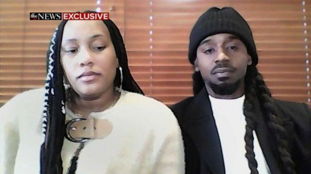 PHOTO: Shantel Covil and her fiancee Jamar Mackey appear on ABC's 'Good Morning America,' Dec. 22, 2020, about Mackey being handcuffed while eating at a food court at a shopping mall on Dec. 19, 2020, in Virginia Beach, Va. (ABC News)
