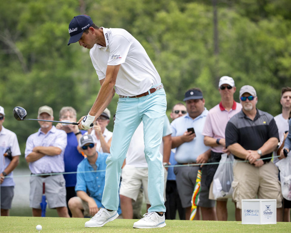 Chesson Hadley hits off the first tee during the third round of the Palmetto Championship golf tournament in Ridgeland, S.C., Saturday, June 12, 2021. (AP Photo/Stephen B. Morton)