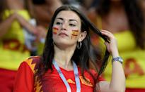 <p>A fan of Spain enjoys the pre match atmosphere during the 2018 FIFA World Cup Russia group B match between Portugal and Spain at Fisht Stadium on June 15, 2018 in Sochi, Russia. (Photo by Stu Forster/Getty Images) </p>