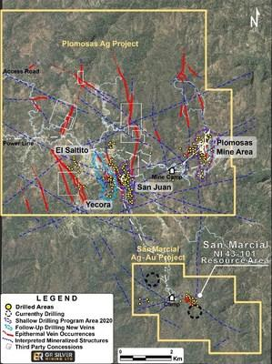 Figure 1. Overview of the San Martin sediment-hosted copper-silver project, Peru. The four project areas now cover 65,600 hectares of the prospective host horizon within a 110 kilometre long trend. (CNW Group/Hannan Metals Ltd.)