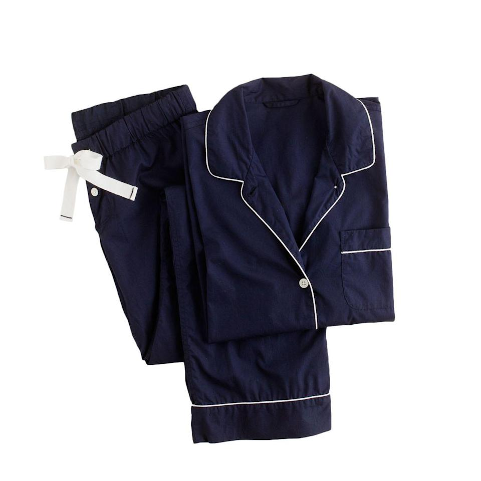"<p>You can't go wrong with a crisp pair of classic PJs. <a href=""https://www.jcrew.com/womens_category/sleepwear/PRD~31314/31314.jsp?Nbrd=J&Nloc=en_US&Nrpp=48&Npge=1&Ntrm=navy+pajamas&isSaleItem=false&color_name=NAVY&isFromSearch=true&isNewSearch=true&hash=row0"" rel=""nofollow noopener"" target=""_blank"" data-ylk=""slk:J.Crew Vintage Pajama Set"" class=""link rapid-noclick-resp"">J.Crew Vintage Pajama Set </a>($95)</p>"