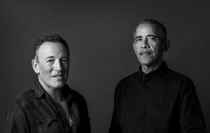 """In this image provided by Rob DeMartin, former President Barack Obama and musician Bruce Springsteen pose for a photo. There's a new chapter in the friendship between Barack and the Boss. """"Renegades: Born in the USA"""" is a bound edition of the popular """"Renegades"""" podcast featuring conversations on everything from fame to cars to the country itself between Obama and Springsteen. The book is scheduled to come out Oct. 26, 2021. (Rob DeMartin via AP)"""