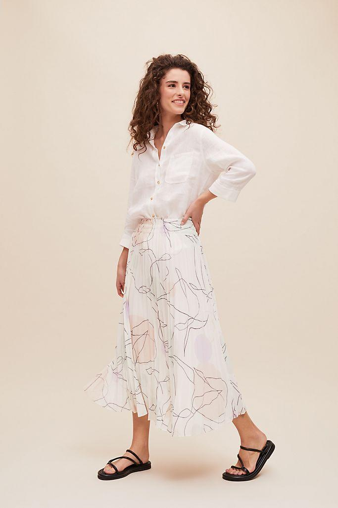 Suncoo Orie Pleated-Printed Skirt