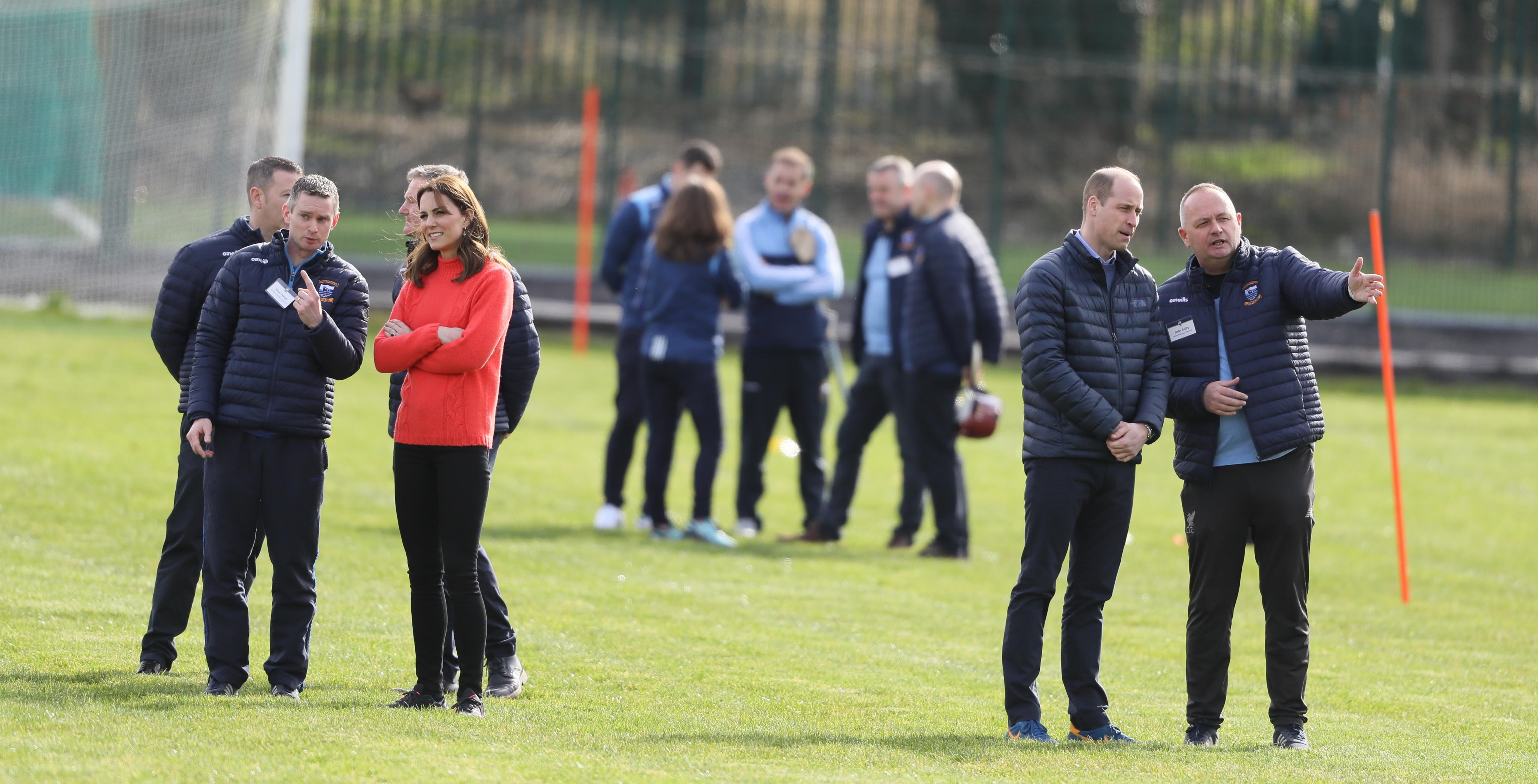The Duke and Duchess of Cambridge at a local Gaelic Athletic Association (GAA) club during the third day of the roya visit to the Republic of Ireland.