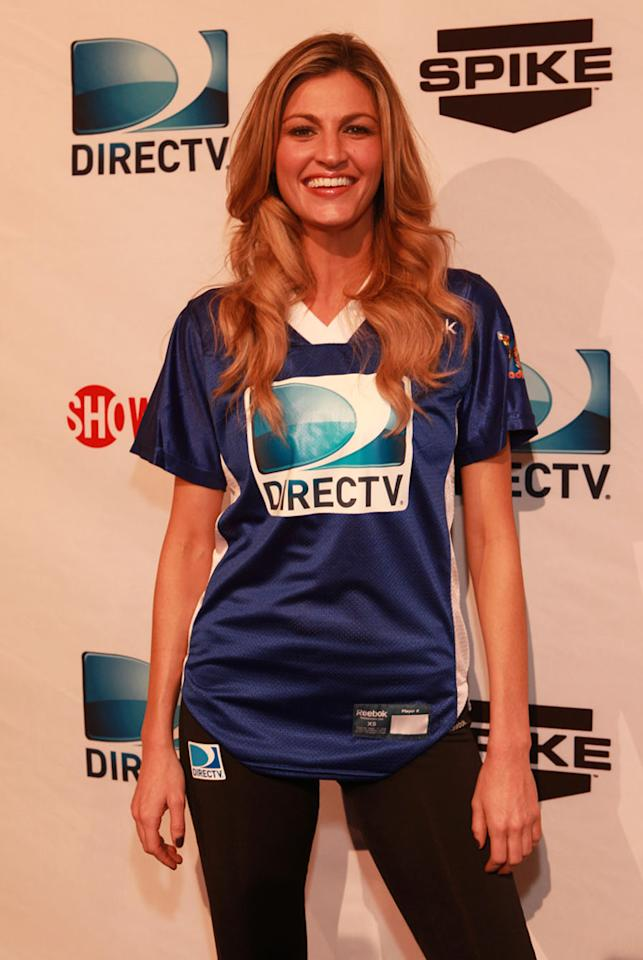 ESPN sportscaster Erin Andrews arrives at the DirecTV Celebrity Beach Bowl in Indianapolis.