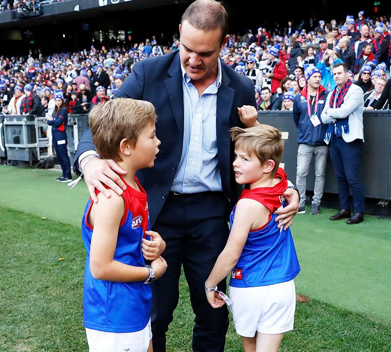 Brad Green with sons Oliver and Wilba, pictured here at the MCG in June.