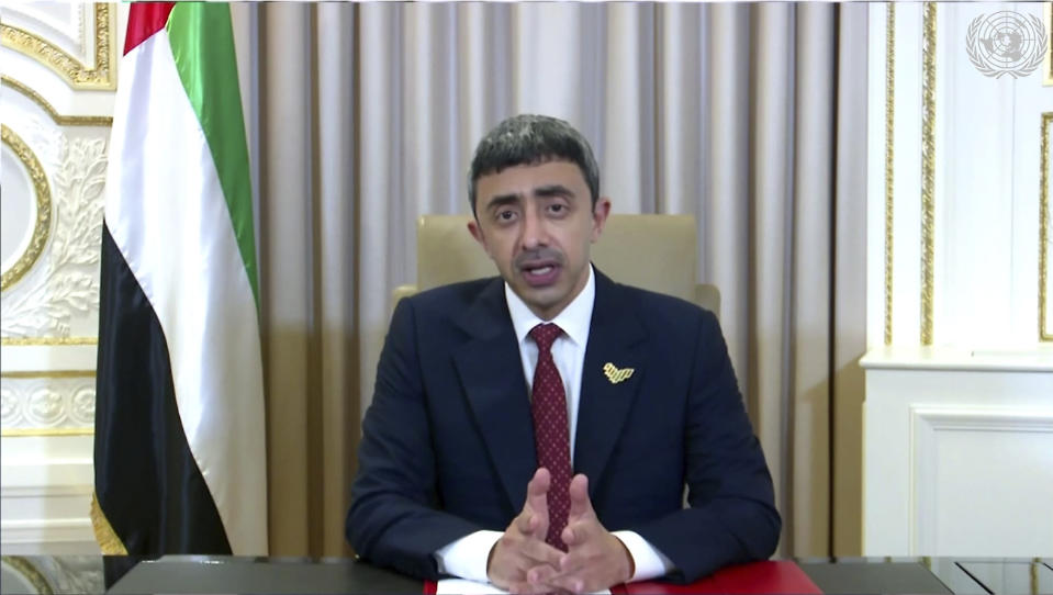 In this image made from UNTV video, Abdullah bin Zayed Al Nahyan, Foreign Minister of United Arab Emirates, speaks in a pre-recorded message which was played during the 75th session of the United Nations General Assembly, Tuesday, Sept. 29, 2020, at U.N. headquarters in New York. (UNTV via AP)