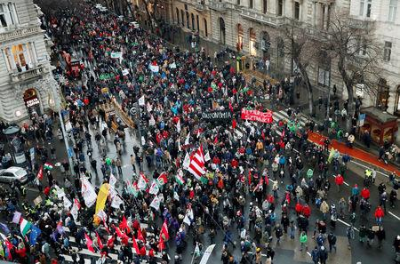 Thousands March In Hungary Against New Labor Law
