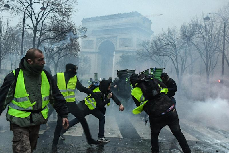 "The ""gilets jaunes"" (yellow vests) movement sprang up in October against increases in fuel taxes announced as part of President Emmanuel Macron's efforts to pursue clean energy policies"