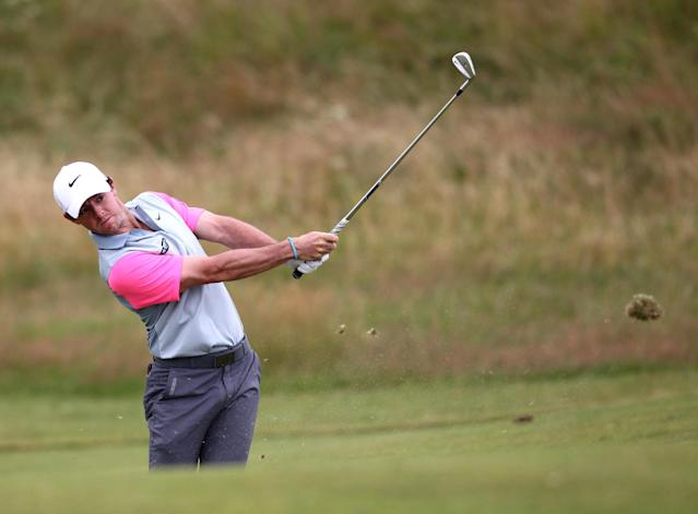 Rory McIlroy plays from the 11th fairway on the final day of the 2014 British Open at Royal Liverpool Golf Course in Hoylake on July 20, 2014 (AFP Photo/Peter Muhly)